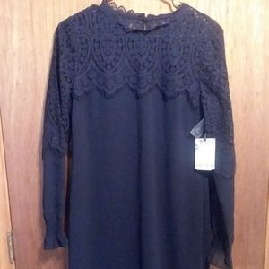 Kensie Dress Navy Blue Lace Overlay Size 12